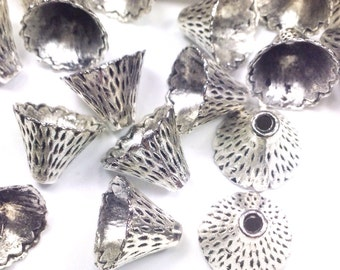 Pewter Bead Caps, Bracelet Cones, Antique Silver, Vintage Look, 9x13mm, 2mm hole, Fits 10mm & Larger Beads, Lot Size 10 to 40, #1208