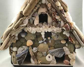 Birdhouse, shells, crystals, driftwood, rocks, home decor, natures bling, Feng Shui, minerals, earth gifts,