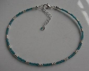 Green beaded anklet, ankle bracelet, beaded anklet, beach anklet, beach jewellery, seed bead anklet, boho anklet, boho jewellery