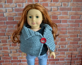 18 inch Doll Clothes - Crocheted Capelet Poncho - GRAY GREY - fits American Girl