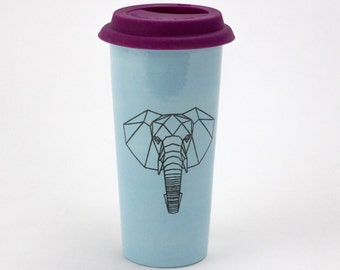 Large 20oz Hand Painted Travel Mug with Faceted Elephant