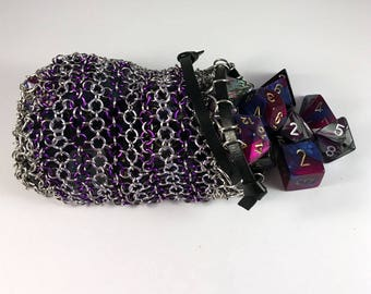 Chainmaille dice bag/ Larp coin pouch in purple
