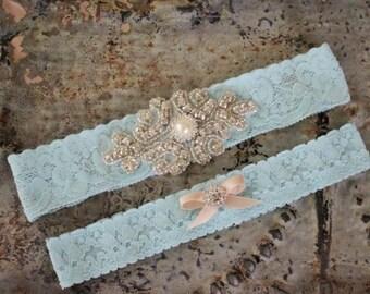 Style Vintage mariage mis au point mousse, quelque chose de bleu, Jarretière strass, lancer au point mousse, Jarretière en dentelle Stretch de haute qualité, cristal ou perle Cente