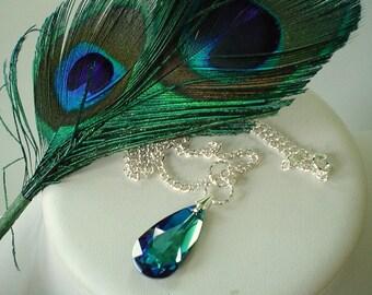 Bermuda Blue Peacock Swarovski Teardrop Beaded Necklace    Great for Bridesmaid Gifts