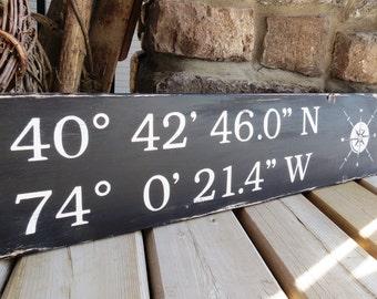 Distressed Latitude Longitude Coordinates Sign - Nautical, Beach, Rustic, GPS, Custom Wood Sign