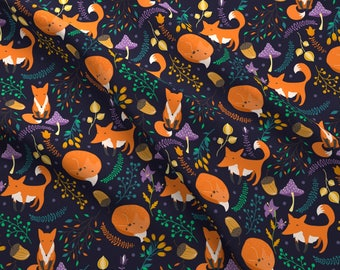 Woodland Foxes at Night Fabric - Foxes By Juliabadeeva - Foxes Mushroom Navy Purple Orange Cotton Fabric By The Yard With Spoonflower