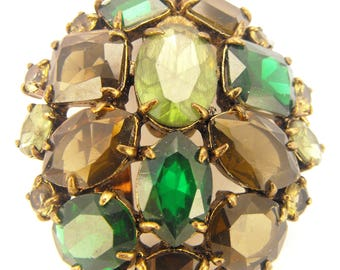Rhinestone Brooch Green Olivine Topaz Jonquil Stones Antiqued Gold Tone Metals Large Size Domed Beauty