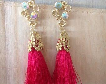Ethnic earrings-brass and boreal Rainbow gems. Tassels Fuchsia