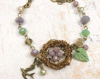 Bird nest bracelet, mom bracelet, nest bracelwt, wire nest jewelry ,