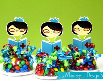 Bookworm Reading Birthday Party / Bookworm / Book Worm / Favor / Gifts / Candy Container / Party Favor Boxes / Centerpieces / Decoration