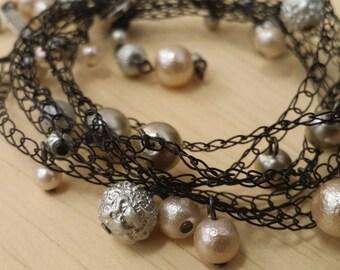 Drops of Jupiter -  Metal Lace - Crocheted Wire - Beaded Bracelet