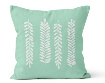 Fern Leaves Pillow Cover, rustic home decor, pastel seafoam mint green decorative pillow, nursery decor, c pillow,  pillow