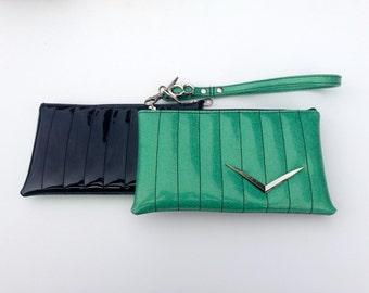 V8 Hot Rod Wristlet- Metal Flake Green & Patent Black with Chevron Car Emblem
