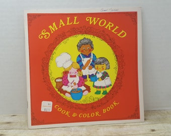 Small World Cook and Color Book, 1971, unused, vintage coloring book