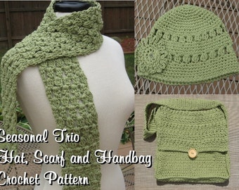 Seasonal Trio, Hat, Scarf and Handbag Combo Crochet pdf Patterns ,all 3 for only 5.99, Instant Download Available