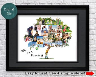 Custom family tree gift Fathers day gift Family tree wall art Anniversary gift for father gift Fathers gift Photo collage gift
