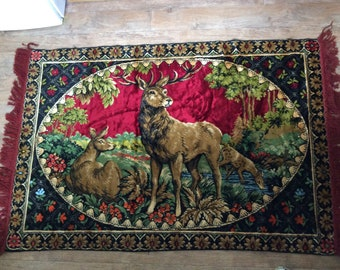 Vintage Rug Featuring Deer and Fawn