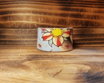 Handmade Leather Bracelet using an Ed Hardy Belt with Brass Snaps