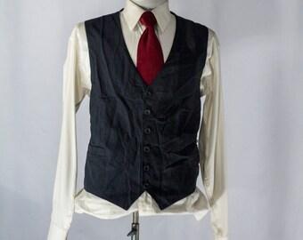 Men's Suit Vest 46 / Vintage Black Pinstripe Waistcoat / Size 46 XL #2081