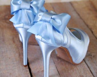 Light Blue Wedding Shoes, Platform Peep Toe Shoes, Blue Bridal Accessories, Bow Wedding Shoes, Satin and Chiffon Shoes, Custom Wedding Shoes