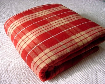 Vintage Duvet Comforter Cover - Reversible Red Yellow White Plaid Queen Full - Rustic Farmhouse Home Camp Cabin Lodge Masculine Bed Bedding