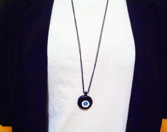 handmade, ceramic, evil eye long pendant necklace
