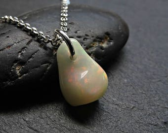 small opal charm pendant, white opal necklace silver, personalized womens gift, welo opal pendant silver, carved opal necklace, opal jewelry