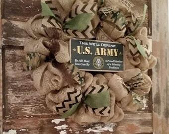 US Army Burlap wreath. Marine Burlap wreath, Air Force Burlap wreath, Navy Burlap Wreath
