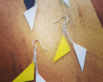 Upcycled triangle earrings!