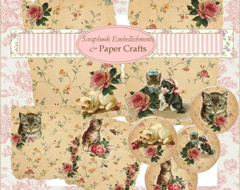 Digital Download Cats Images Collage Sheet Pdf