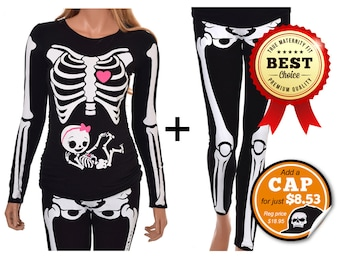 Maternity Halloween Shirt and Leggings Pregnant Skeleton with Baby Girl Halloween True MATERNITY Fit Costume - Includes Shirt and Leggings