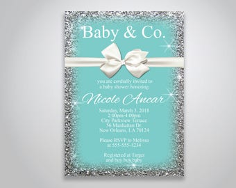 INSTANT DOWNLOAD - Baby & Co. Baby Shower Invitation, Breakfast at Tiffanys, Teal baby shower invitation, bow and sparkles, , OLDP_07