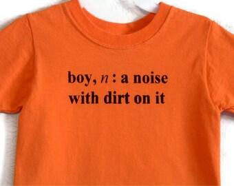 Junge Definition Screenprinted T-Shirts Orange schwarze Tinte Kindergrößen 6-8