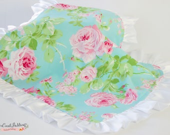LAYLA Floral Lovey Blanket Satin Ruffle, Baby Girl Vintage gift, Baby Girl Gift Set, Baby Girl Floral Shower Gift, ships within a week