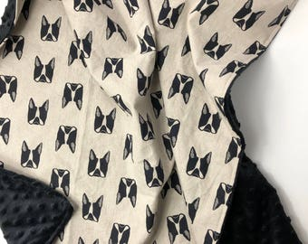 Puppy Love - Black Tan - Baby Boy crib stroller blanket linen cotton minky - modern puppies dogs - boston terrier