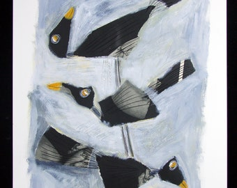 painting on paper, black birds, collage, acrylic, one of a kind, unique artwork, black and white, grey tones, nature, landscape