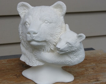 Ceramic Bisque Bear and Cub Bust