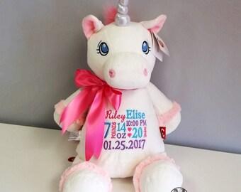 Personalized stuffed unicorn, monogrammed baby gift, personalized stuffed animal, new baby gift, unicorn