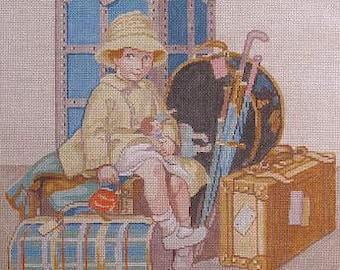 Child and Luggage Handpainted Needlepoint Canvas #16 Theodora JWS