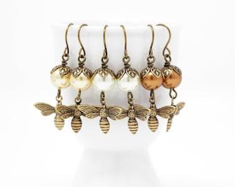 Mothers Day Gift - Bee Dangle Earrings -Bee Jewelry - Nature Jewelry -  Ivory Pearl Earrings - Dangle Earrings - Bee Gift - gift For Woman