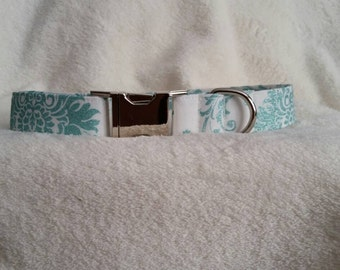 Dog Collar - aqua and white damask shimmer dog collar