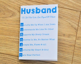 Husband Card, Birthday Card, Husband Birthday, Anniversary Card, Boyfriend Card, Card for Husband, Greeting Card, Card for Him, Husband