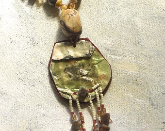 Sage necklace upcycled artist palette in autumn colors
