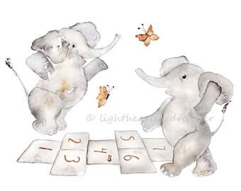 Gray Elephant Nursery Art, Elephant painting print, Elephant Nursery Decor, hopscotch, Kids wall Art