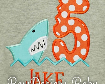 Shark Birthday Shirt, Custom, Any Age