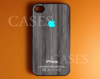 Iphone 4 Case, Turquoise Logo Iphone 4s Case Cover, Wood print Iphone Cases, Snap On Rubber or Hard Plastic Case