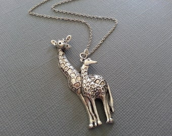 Antique Silver Mother and Baby Giraffe  Necklace