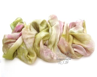 Pastel clothing fashion hand painted long silk scarf feminine wedding stole bridal shawl bridesmaid luxury gift for Mothers spring garden