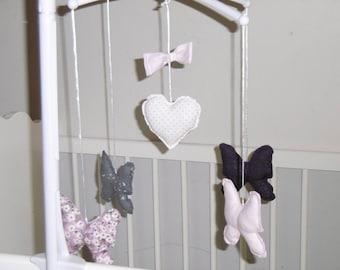 Musical motifs purple and pink butterflies