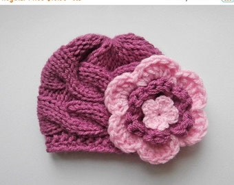 ON SALE 10% SALE Knit Baby Girl Cable Hat , Baby Hat Photo Prop , Knit Baby Hat , Crochet Flower Hat ,Photo Prop